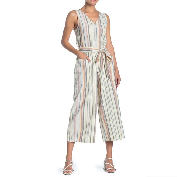 beachlunchlounge Pants - New beachlunchlounge Striped Linen Blend Jumpsuit